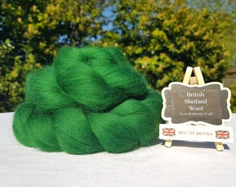 Forest green Shetland Wool Top Roving for needle felt,jumbo knitting and spinning and wet felting. 100g