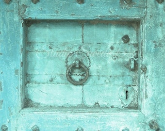 "Door Photography, Door Print, Architectural Art, Rustic Cottage Decor, Primitive Rural Turquoise Decor, Old Door Art, Farmhouse- ""Aged Aqua"""