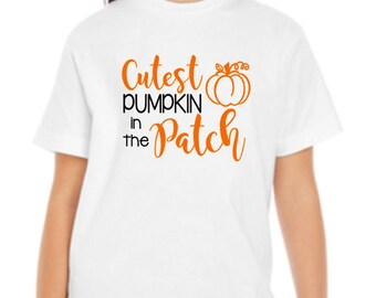 Cutest Pumpkin in the Patch Youth T-Shirt Fall Autumn Thanksgiving Halloween