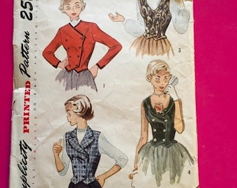 Vintage Simplicity Pattern Teen Age Weskit and Jacket 1940's 1950's Size 14 Bust 32