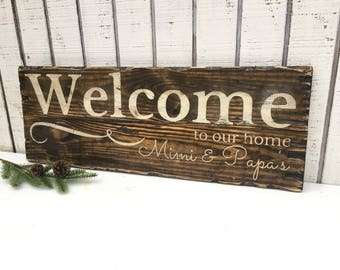 Welcome to our home, welcome sign, Personalized gift, couples gift, welcome wedding sign, customize with name, wedding gift