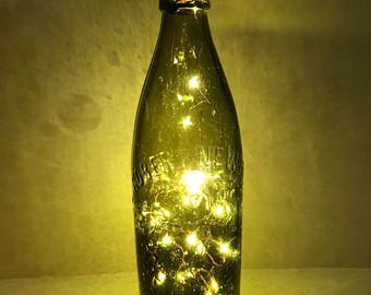 1 Vintage Beer Bottel with battery operated string lights
