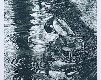 Duck Bird Artwork - Original Engraving - Bird Art - Hunting