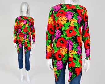 80s Colorful Silk Floral Blouse | size Small | Abstract Handkerchief Scarf Hem Long Sleeve Tunic Top Black Red Green | S