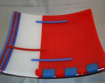 Square glass platter in an abstract pattern (PL-10)
