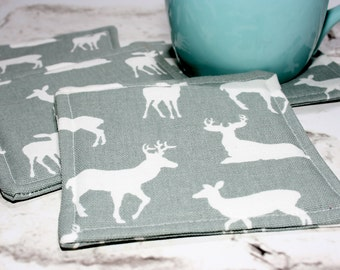 Gray & White Deer Coasters, Set of 4