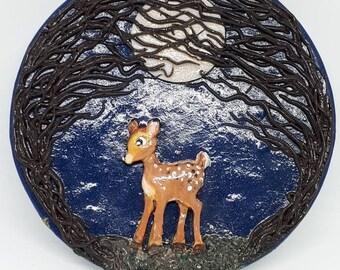 Moonlit bambi, fawn, baby deer compact mirror.