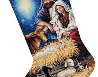 "Counted Cross Stitch CHRISTMAS Stocking HOLY Night Dimensions Kit 16"" -Free US Shipping!!!"