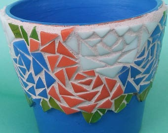 Royal Blue Pot/Planter  with Mosaic Flowers