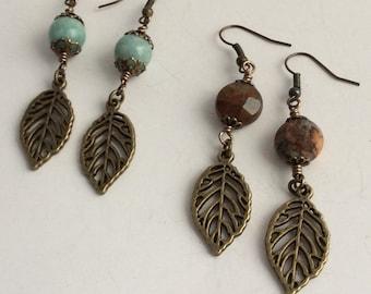 GEMSTONE EARRINGS, Drop Earrings, Leaf Earrings , Brass Earrings
