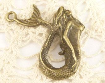 Antiqued Bronze Mermaid Pendant, Charm (1) -