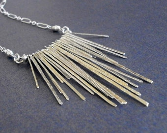 Sterling Silver Chevron Fringe Pendant Geometric Triangle Necklace Hammered Wire Jewelry Tribal Jewelry Silver Statement