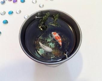 Miniature koi pond, orange and white polymer clay fish in miniature pond, miniature bucket, resin pond