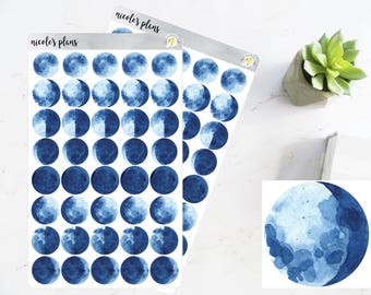Moon Phase Stickers • Moon Tracker Icons • Moon Cycle Stickers for Happy Planner, Erin Condren, Bullet Journal • Daily Tracker Moon Decals