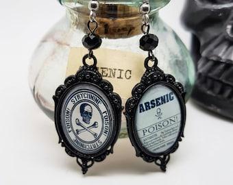 Apothecary label earrings, poison warning labels, skull and crossbones earrings, The Poisoners Handbook earrings