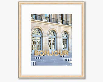 Bonjour Paris Photograph -- Palais Royal with Gold Balloons -- Travel Photography -- 8 X 10 Inch Print