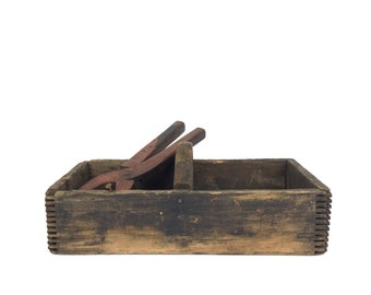Primitive Wood Tool Box Vintage Wood Organizer Old Gray Caddy Organzier Antique Caddy Divided Tool Caddy