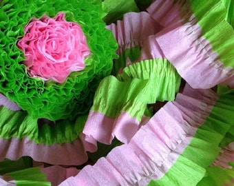 Pink and Bright Green Ruffled Crepe Paper Streamers - 36 Feet - Party Decoration - Craft and Party Supplies