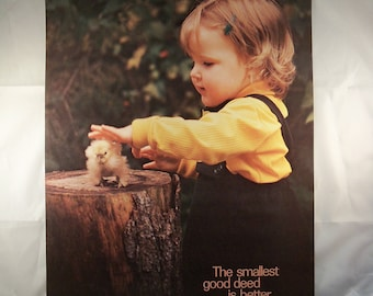 Vintage Baby Chick and Child NOS ARGUS Inspirational Poster