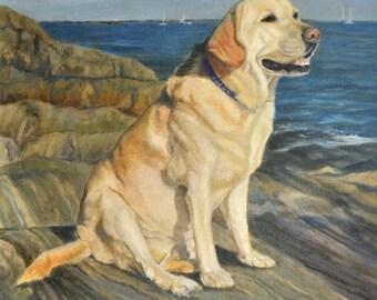 Yellow Labrador Retriever Art, Yellow Lab Print, Yellow Labrador Print, Labrador Retriever Art, Yellow Lab Oil by P. Tarlow