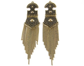 Antique Gold Fringe Earring Findings Long Chain Tassel Pendant Jewelry Component |AN4-4|2