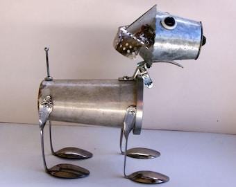 OOAK Handmade Metal Dog sculpture bot, found object art, found object dog, metal DOG assemblage, dog art