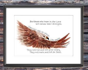 Soaring Eagle, Bible Verse art print, scripture design, hand lettered typography, wall art decor, Isaiah 40:31