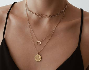 Tiny Horn Necklace - Gold Necklace - Layering Necklace - Horn Necklace - Gold Horn Necklace - Crescent Necklace