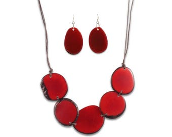Eco Friendly Necklace and Earrings Nella Tagua Necklace Set