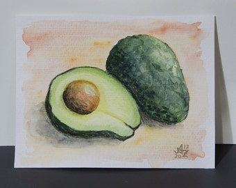 Original Watercolor Painting avocado Still life - 4x6""