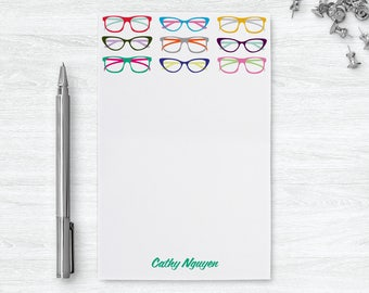 Eye Glasses Notepad Optometrist Gift, Hipster Glasses Daily To Do List Pad, Personalized Note Pads, Eyeglasses Print Desk Pad Gift for Her