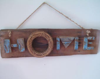 Rustic Wooden 3-D Home Sign primitive reclaimed wood farmhouse decor shabby chic