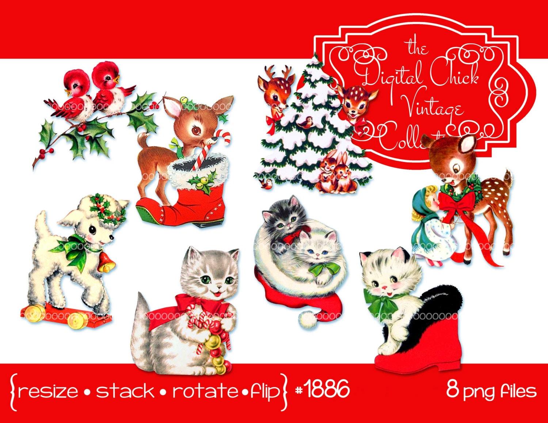 Digital Clipart Instant Download Vintage Christmas Images