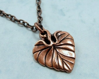Heart Shaped Leaf Necklace, Antique Copper Heart Spade Leaf Charm on a Copper Cable Chain