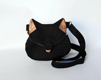 Black cat cross body bag, cat purse, fox purse, fox bag, black gold phone bag