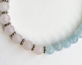 Aquamarine rose quartz bracelet