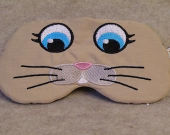 Embroidered Eye Mask for Sleeping, Cute Sleep Mask for Kids & Adults, Sleep Blindfold, Eye Shade, Slumber Mask, Bunny Face Design, Handmade