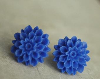 Studs, Blue Dahlia Stud Earrings, Studs Flower Post Earrings, Weddings, Mum Flower Earrings,  Dark Blue, Corn Flower