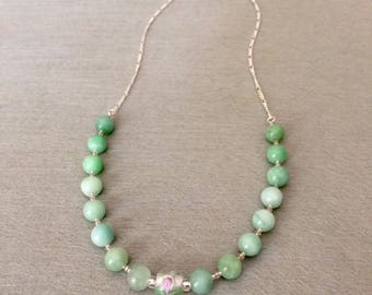 Mint Green Amazonite Necklace Amazonite Bead Necklace Green Ombre Necklace Feminine Necklace Wedding Necklace Mothers Day Gift For Mom Her