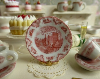 1:12 Scale Old Britain Castles Pink Blarney Castle Dollhouse Plate