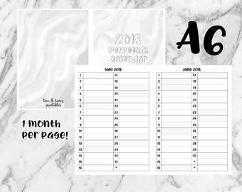 A6 PRINTABLE Inserts - 2018 Perpetual Calendar
