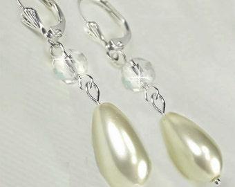 Bridesmaid Earrings, Ivory Pearl Teardrop and Swarovski Crystal Dangle Bridal Earrings, Bridesmaid Earrings - Olivia (WE0142)
