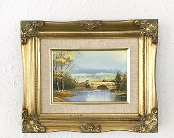 Vintage Landscape Painting / Waterway bridge / Ornate Gold Frame