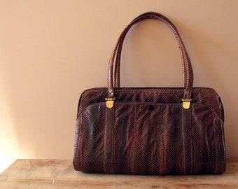 vintage 1970s lizard or fish skin handbag - brown shoulder purse with handles - faux crocodile style
