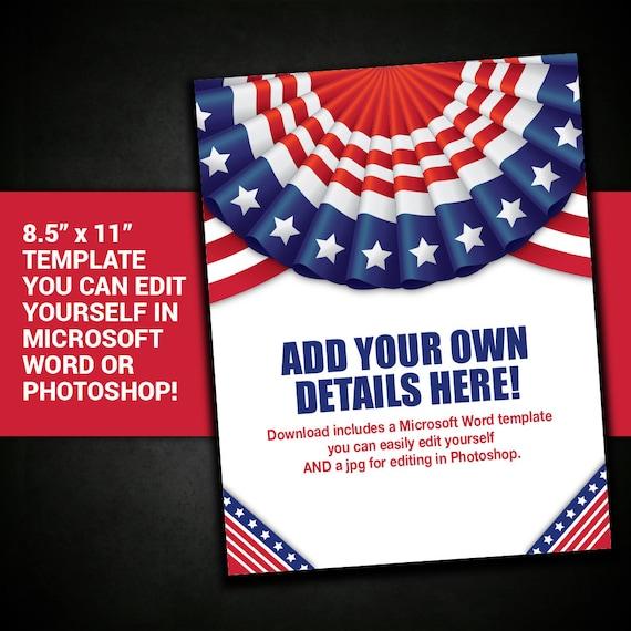 patriotic flyer border frame united states usa template