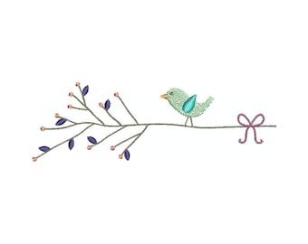 Machine embroidery design BIRD ON BRANCH digital design.