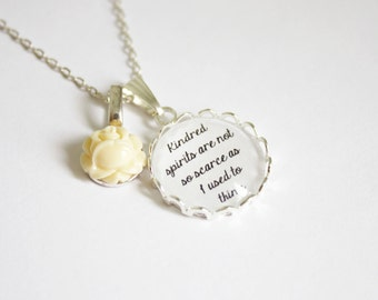Anne of Green Gables quote necklace. Kindred spirits. Book lovers. Personalized. Literature. Lucy Maud Montgomery