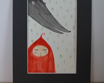 Little Red Riding Hood - original watercolor painting, illustration, fairy tale illustration