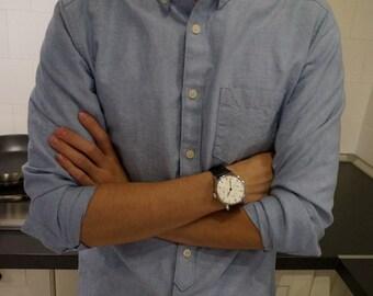 BuFan Handmade men's Casual long sleeve Blue Cotton Oxford Shirt