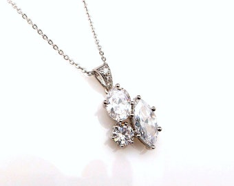 wedding jewelry bridal necklace prom bridesmaid party rhodium three multi shape cluster cubic zirconia drop necklace sterling silver chain